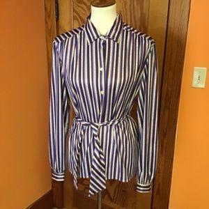 Vintage 70S polyester stripes funky belted blouse